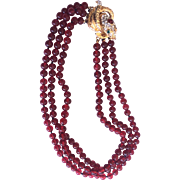 K. J. L. First mark Kenneth Lane Ruby glass pearls snake closure necklace