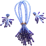 Coppola Toppo Blue Crystal Necklace earrings set parure