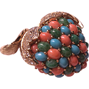 CINER faux turquoise and faux coral apple pin brooch