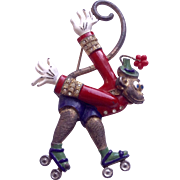 1940's Figural monkey pin on roller skates movable trembler head Pin  Brooch