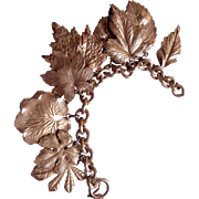 NAPIER 50's amazing huge goldtone leaf charm bracelet