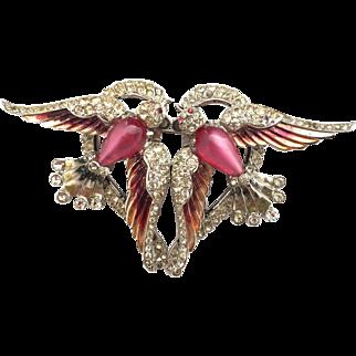 CORO 1941 Lovebirds Duette pristine condition amazing pin brooch