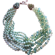 COPPOLA Toppo 1958 glass paste and crystal granes necklace two shades of green