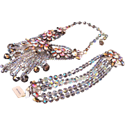 Schiaparelli AB stones and crystal granes necklace bracelet set parure