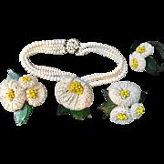 Miriam Haskell 1940 Frank Hess necklace bracelet clips parure