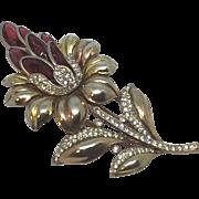 TRIFARI glass red petals sunflower fur clip pin