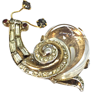 Trifari Jelly Belly 1949 Fairyland collection snail pin brooch