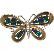 TRIFARI blue and green butterfly pin brooch