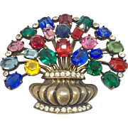 EISENBERG ORIGINAL sterling 1943-1944 multicolor stones basket pin brooch