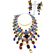 Kenneth Lane 1970 Amazing Colored Huge Collar Necklace and shoulder duster  Earrings