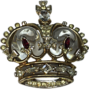 Trifari Coronation Crown Jelly Belly 1949 pin brooch