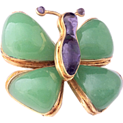 CHANEL 1981-1985 frame Gripoix Butterfly poured glass pin brooch