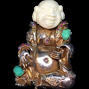 Har Happy laughing buddah Chinaman Asian Brooch Pin