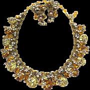 Original by Robert Amazing Topaz Crystal Necklace Earring set Parure