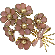 Trifari pink poured glass and faux pearl fur clip pin