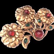 Joseff of Hollywood huge flower pin brooch
