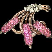 Pennino sterling huge pink flower pin brooch