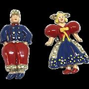 Coro WWII Patriotic Holland Man Woman couple pins fur clip
