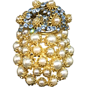 Countess CIS of Zoltowska huge faux pearl and turquoise stones pin brooch