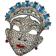 MAZER 1940 extra rare huge oriental face mask  pin brooch