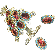 Larry Vrba pink rivoli stones huge Christmas tree pin with matching earrings