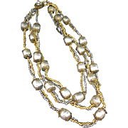 Miriam Haskell cream white baroque pearls with goldtone and silvertone grain Necklace