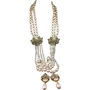 Breathtaking Demario Faux pearls Huge long Necklace and Earrings set parure