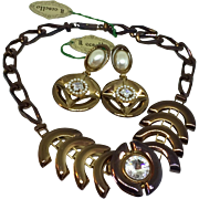 IlGioiello di Firenze mad ein Italy new old stock still with tags 1970's necklace and earrings set parure