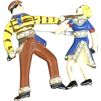 WWII Patriotic French Couple performing the  Apache Dance pin brooch
