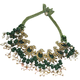 AMAZING Keshi pearls and agate granes bib collar necklace