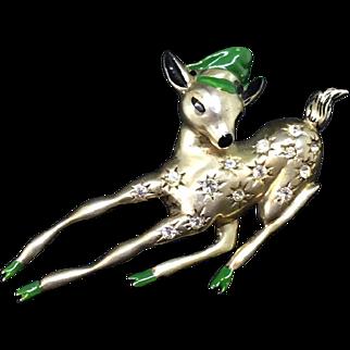 EISENBERG sterling Reindeer with Hat Huge pin brooch