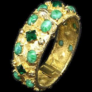 Cadoro Goldtone green crystal stones cuff bracelet