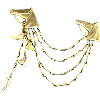 Joseff of Hollywood Horse head  pin chatelaine double set