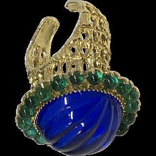 Delillo Amazing blue cabochon carved moghul style dome ring