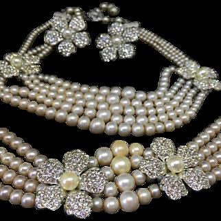 VENDOME faux pearls and rhinestones parure necklace bracelet earrings