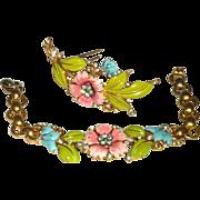 TRIFARI 1939 enamel Flower Fur pin clip Bracelet SEt Parure !
