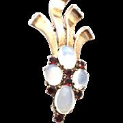 TRIFARI sterling Opaline glass stones Large Spray pin brooch