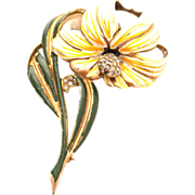 Deja Enamel Giant flower pin brooch