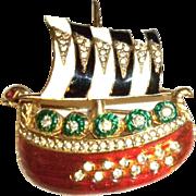 Ciner enamel Viking boat Pin Brooch