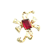 reja sterling HUGE Red Bow pin Brooch