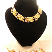 GIVENCHY 1980's Parure Necklace and Pin set shimmering stones!!