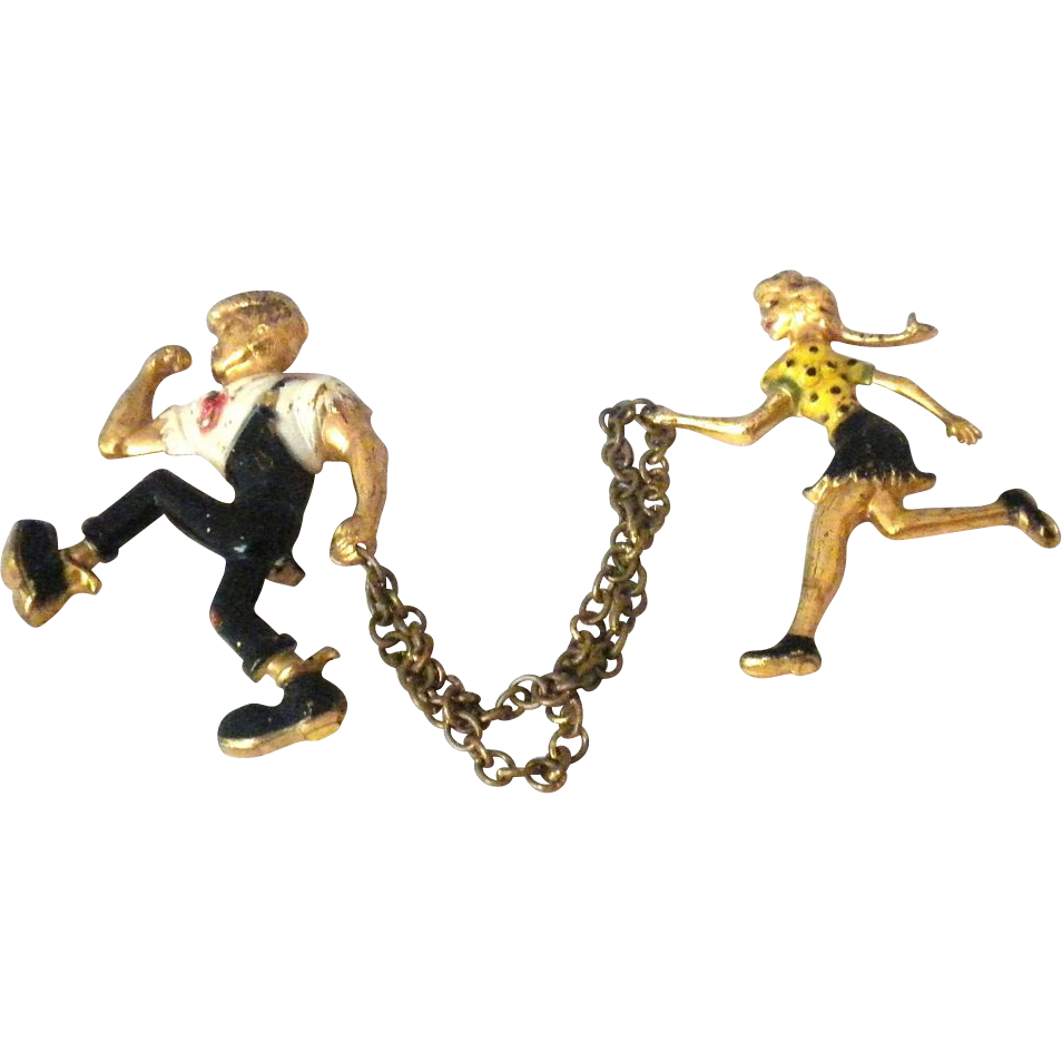 Lil Abner and  Daisy Mae Comic couple  chatelaine pin Brooch