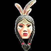 CORO 1942 American Indian girl enamel Fur Clip Pin Brooch