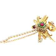 Christina LACROIX amazing Dangling Pin Brooch 4 inches!!!