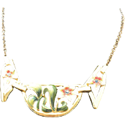 CORO 40's enamel flower fantastic Necklace
