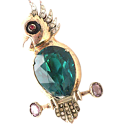 REJA sterling Green faceted stone parrot pin brooch