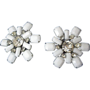 WEISS white snowflake big clip on earrings