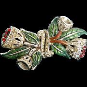 Coro 1940 A. Katz  very old bell flower duette Pin Brooch