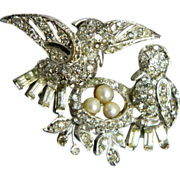 BOUCHER 1947 numbered MB phrygian mark Birds with Nest  FANTASTIC pin brooch