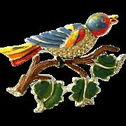 CORO 1934 enamel Bird on a Branch Pin Brooch